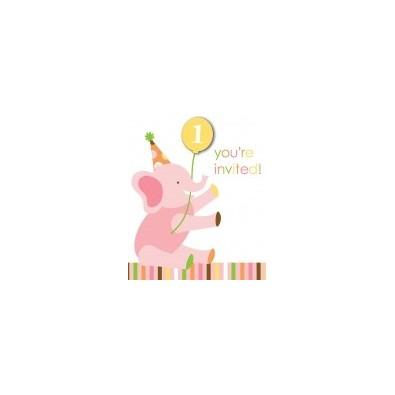 carte d'invitation pour le premier anniversaire de bébé jungle fille