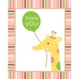 Cartes de Remerciements Premier Anniversaire Jungle Fille
