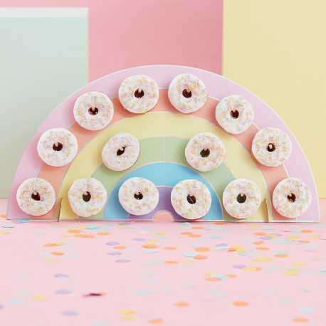 Mur à Donuts Arc-en-ciel - Cadre de présentation Gourmandises Sweet table