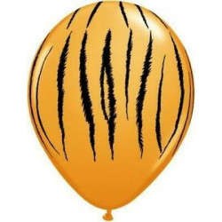 5 ballons latex motif tigre - décoration jungle