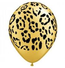 5 ballons latex motif léopard doré - décoration jungle