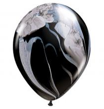 Ballons latex effet marbré noir et blanc - Décoration de fête