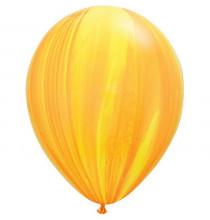 Ballons latex effet marbré jaune et orange - Décoration de fête