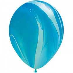 Ballons latex effet marbré bleu - Décoration de fête