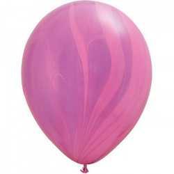 Ballons latex effet marbré rose et parme - Décoration de fête