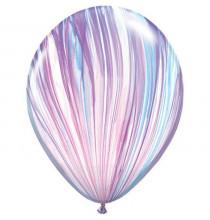 Ballons latex effet marbré parme blanc bleu - Décoration de fête