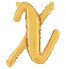 Ballon Lettre Manuscrite Dorée 35cm X Alu Lettre Or Mylar