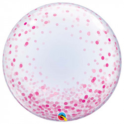 Ballon Bubble Pois Rose 61cm Transparent - Décoration de ballons