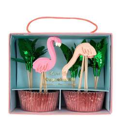 Kit Tropical Chic Cup Cakes Premium Flamingo Party Flamant Rose