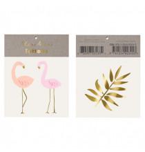 2 Planches de Tatouages Dorés Flamants Roses et Feuilles Jungle Animation Jeu de fête