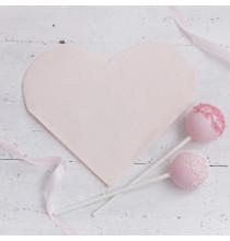 Serviettes Rose Poudré en forme de Coeur