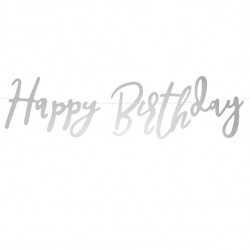 Banderole Happy Birthday Lettres Manuscrites Argent - Décoration Anniversaire