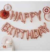Banderole Ballons Happy Birthday Premium Rose Gold Rose Cuivré
