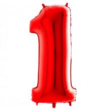 Ballon Géant Alu Rouge Chiffre 1 An Fête d'Anniversaire