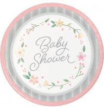 Grandes Asssiettes Baby Shower Florale - Fleurs et Eucalyptus