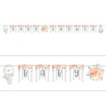 Banderole à Fanions Baby Shower Florale - Fleurs et Eucalyptus