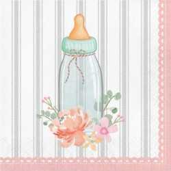 Grandes Serviettes Baby Shower Florale - Fleurs et Eucalyptus