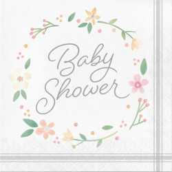 Grandes Serviettes Baby Shower Florale - Fleurs