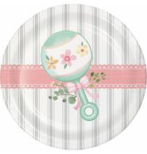 Petites Asssiettes Baby Shower Florale - Fleurs et Eucalyptus