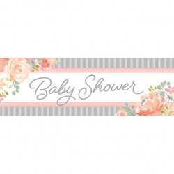 Banderole Géante Baby Shower Florale - Fleurs et Eucalyptus