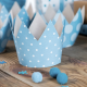 4 Couronnes & Macarons Premier Anniversaire Bleu à Pois