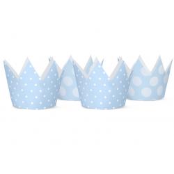 4 Couronnes & Macarons  Anniversaire Bleu à Pois