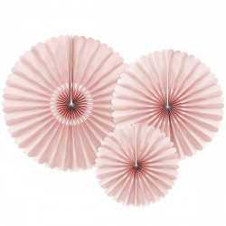 3 Rosaces Vieux Rose Vintage Unies en Papier Décoration de Fête