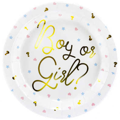Grandes Assiettes en Papier Gender Reveal Boy or Girl ?