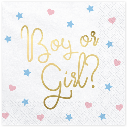 16 Grandes Serviettes en Papier Gender Reveal Boy or Girl ?
