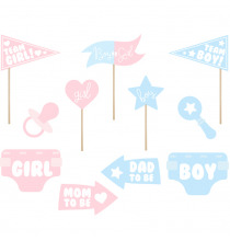 Kit Photobooth Gender Reveal - 11accessoires Photobooth Baby Shower Party Fille ou Garçon