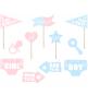 Kit Photobooth Gender Reveal - 11accessoires Photobooth Baby Shower Party Fille ou Garçon