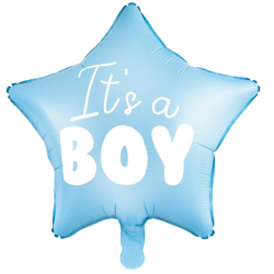 Ballon Etoile It's a boy - Bleu clair