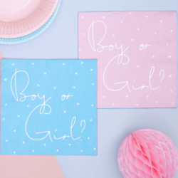 20 Grandes Serviettes 2 Faces Boy or Girl ? Rose ou Bleu