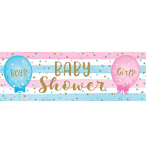 Banderole Baby Shower en Plastique Gender Reveal Boy or Girl ?