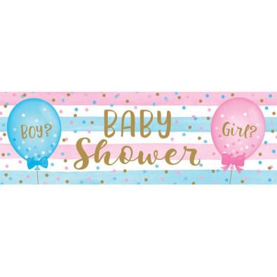 Banderole Baby Shower en Plastique Gender Reveal Boy or Girl ?