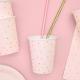 Gobelets Rose Poudré à Pois Dorés - Candy Party
