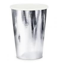 Verres Jetables 220ml en Papier Gris Argenté Gobelet Ultra Brillant
