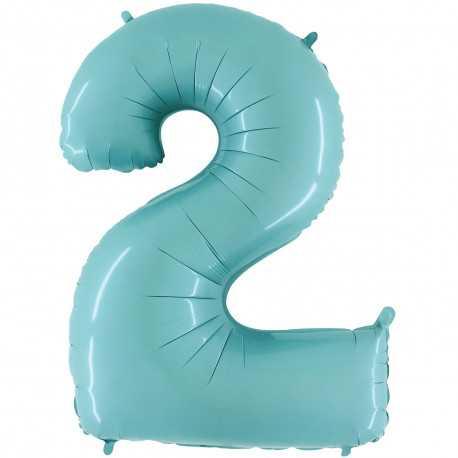 Ballon Géant Alu Bleu Clair 2 An Fête d'Anniversaire