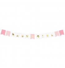 Banderole à fanions Baby Girl -  C'est une fille Baby Shower