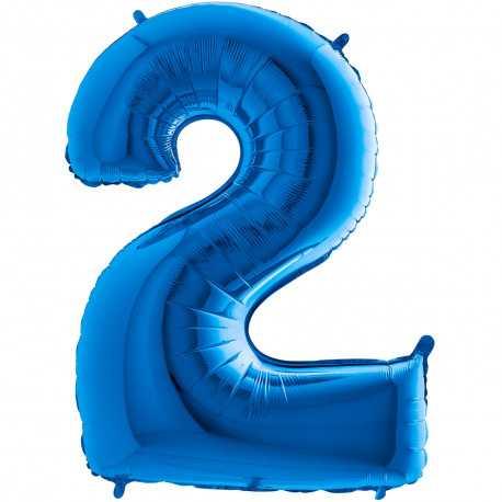 Ballon Géant Alu Bleu 2 Ans Fête d'Anniversaire enfant
