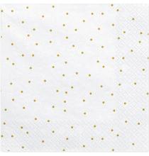 Grandes serviettes blanches à pois dorés - Vaisselle jetable