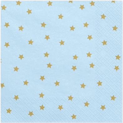 20 Serviettes en papier bleu à étoiles dorées - Vaisselle jetable de fête