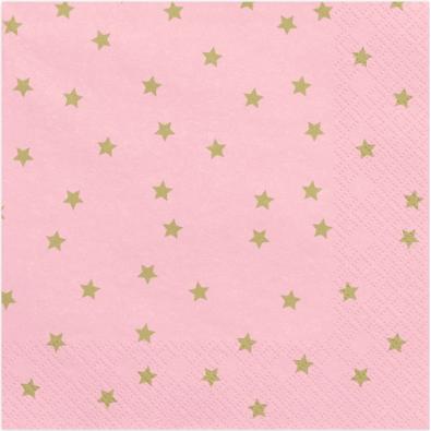 Grandes Serviettes Rose Etoiles Dorées - Anniversaire et Fête