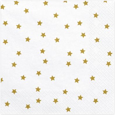 20 Serviettes blanches à étoiles dorées - Vaisselle jetable de fête