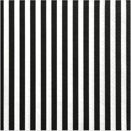 Grandes serviettes à rayures noir et blanc