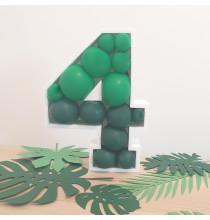 Structure Chiffre Polystyrène + ballons - 35 couleurs au choix