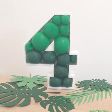 Structure Chiffre Polystyrène + ballons - 50 couleurs au choix