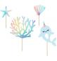 4 Piques Décors à Gâteaux Petite Baleine Holographiques - Anniversaire pour enfants