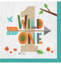 Grandes Serviettes en Papier - Premier Anniversaire Animaux de la forêt