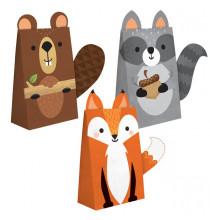 8 Sachets Cadeaux Invités - Anniversaire Animaux de la forêt Castor Renard Raton Laveur